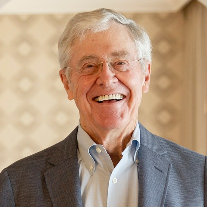 The 82-year old son of father Fred C. Koch and mother Mary Robinson, 175 cm tall Charles Koch in 2018 photo